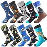 Coloridos Calcetines Para Hombres,Calcetines de Vestir Divertidos, Calcetines de Oficina de Algodón con Estampados Divertidos y Elegantes de Fantasía, Locos Geniales (39-46, 10 Pairs-Raccoon1)