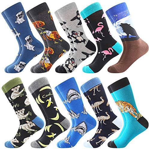 Herren witzige Strümpfe, Herren Bunte Lustige Socken, Fun Gemusterte Muster Socken, Verrückte Socken Modische Mehrfarbig Klassisch als Geschenk, Neuheit Sneaker Crew Socken (10 Paar-Raccoon1)
