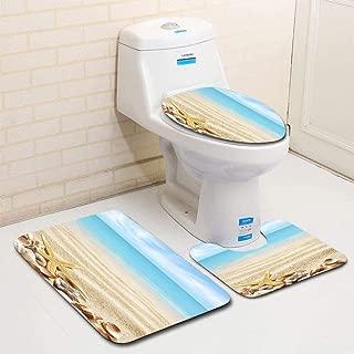 MTSJTliangwan 3-Piece Bathroom Set, Bathroom Rug + Contour pad + lid Toilet seat, Seashells and Starfish on The Sands of a Beach Comfortable Flannel Rug