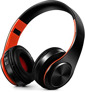 FARVOICE Bluetooth Headphones Over Ear Noise Cancelling Stereo Wireless Headset Wireless Headphone Headset with Microphone for PC/Cell Phones/TV (Orange-Black)