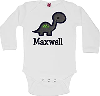 Personalized Embroidered Baby Boy Dinosaur Bodysuit with Matching Cotton Beanie Hat - Your Custom Name