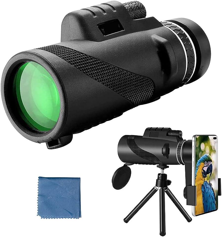 Monokulares Teleskop, 40X60 High Definition Wasserdichtes, Nebelsicheres Monokular mit Smartphone-Halter und Stativ für die Vogelbeobachtung Jagd Wandern Camping Sightseeing