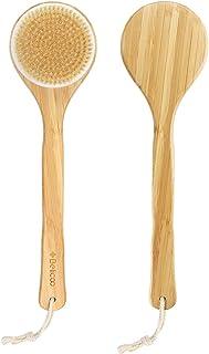 Szczotka do ciała, BELICOO długa rączka szczotka do czyszczenia z drewna bambusowego, naturalne włosie dzika prysznic kąpi...