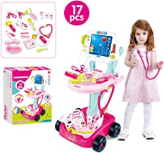 Kids Doctor Kit - Doctor Pretend Play Set with Electric Simulation ECG Medical and Stethoscope Kit Educational Toys - Battery Operated Tools with Lights & Sounds (Pink, USA)