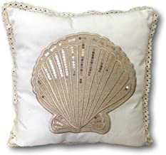 BANBERRY DESIGNS Coastal Pillows - Tan and Cream Pillow Cover Sea Shell Design with Sparkly Sequins - Standard Square 14 ¾ Inch X 14 ¾ Inch - Beach Decor Indoor Outdoor