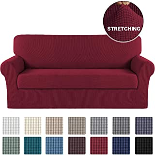 Turquoize Stretch Sofa Slipcover 2 Piece Sofa Cover with Separate Cushion Cover Couch Cover for 3 Cushion Couch Furniture Protector with Elastic Bottom High Spandex Washable (Large, Burgundy)