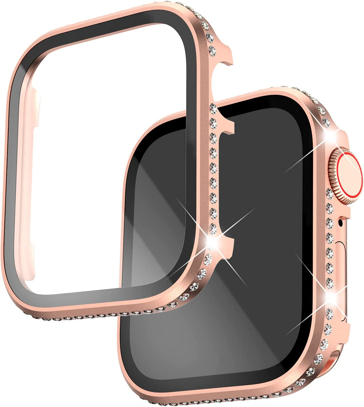Falandi Compatible for Apple Watch Case with Built-in Tempered Glass Screen Protector Rhinestones Aluminum iWatch 40mm Series 6/SE/5/4 Women Girls Bling Crystal Diamond Face Cover (Rose Gold, 40mm)