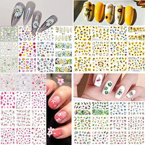 Bonnie-Sam 48 Sheets Sunflower Daisy Water Transfer Sticker Nail Art Decals Floral for Manicure Spring Summer Fingernails Paper