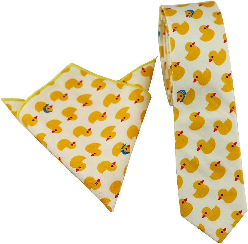 Coachella Ties Yellow Chick pattern Cotton Necktie Skinny Tie Pocket Square Bowtie (Tie+Pocket Square)