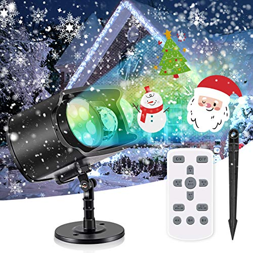 AGPTEK LED Christmas Halloween Projector Light, 2-in-1 Decoration Light with 12 Switchable Pattern & 13 Water Ripple Effect, Waterproof Outdoor Night Light Includes Remote Control, No Slide Needed