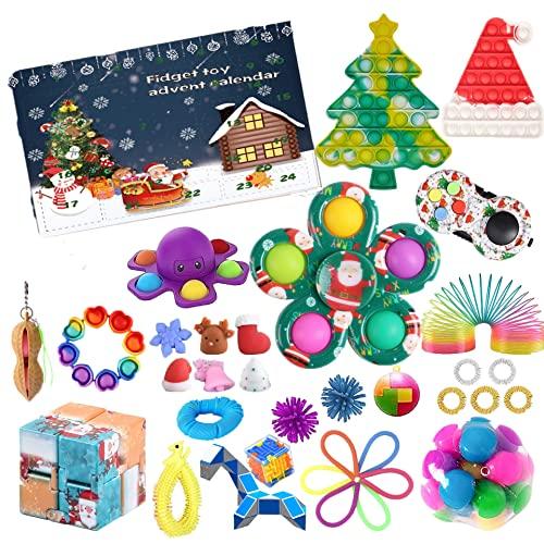 ROTOOY Fidget Calendrier de l'Avent 2021 pour enfant, calendrier de l'Avent à pop-on-It pour Noël, compte à rebours 24 jours, ensemble de jouets Fidget Toy Box (A1)