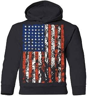 Distressed American Flag YOUTH Hoodie Vintage USA Flag 4th of July Sweatshirt