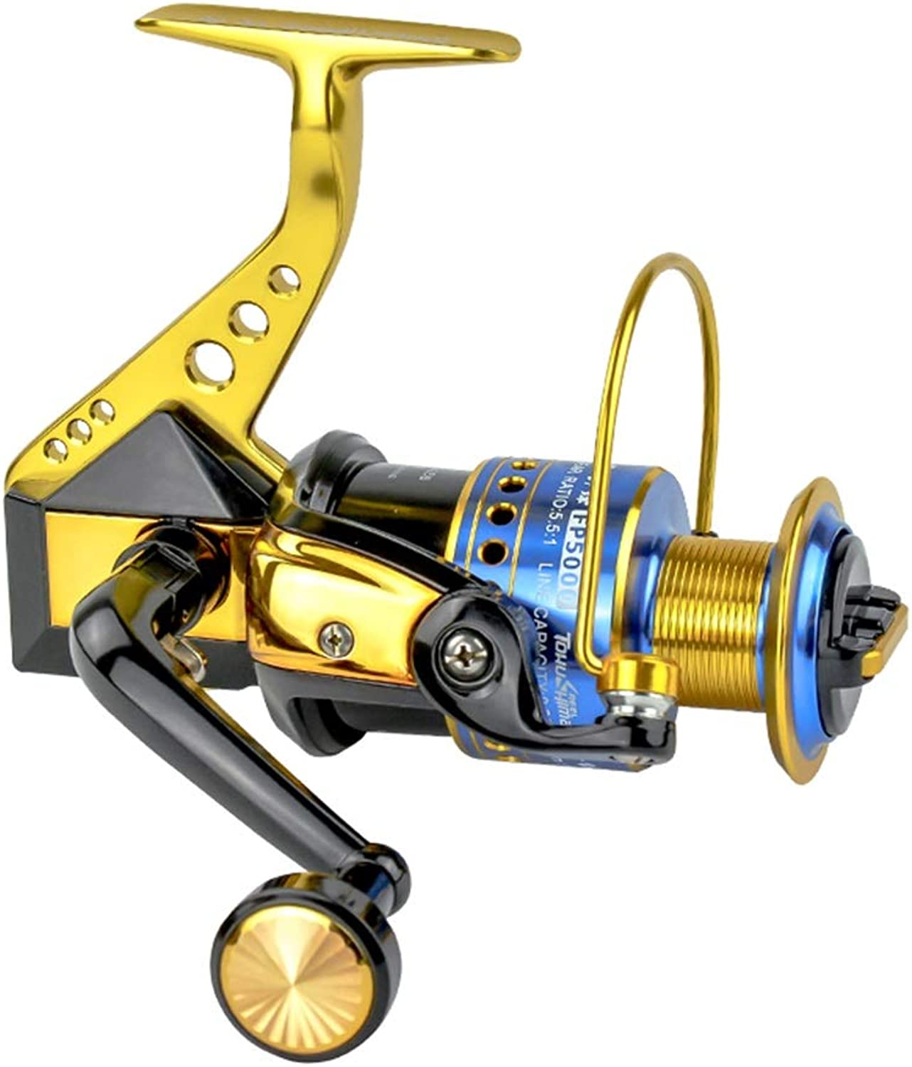 Fishing Reel, Front Drag Spinning Metal 12 Bearing for Seawater Freshwater Anchor Fish Wheel Lure Rock Fishing Left and Right Hand Interchangeable