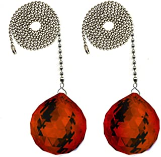 CrystalPlace Fan Pull 30mm Swarovski Red Magma Ball Prism Crystal Ceiling Fan Chain Pull Ornaments Set of 2