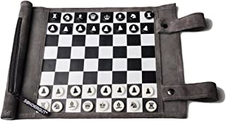 Pitkin Stearns International, Inc. Genuine Leather Roll-Up Travel Game - Chess/Checkers by Sondergut