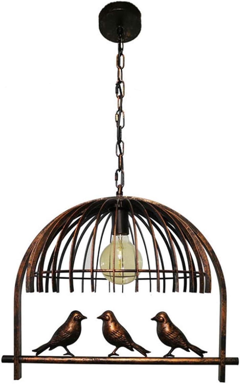 Geschmiediger Eiserner Kronleuchter, Retro Industrial 6 Metal Bird Iron Cage Cage Ceiling Lampe Living Room Bedroom Bar Cafe Dekoration