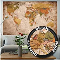 GREAT ART XXL Poster - Vintage y Retro World Map - Poster map geografía mundial atlas continental mapa de una vieja escuela Decoración de pared (140 x 100 cm)
