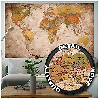 Poster – World Map Retro Look – Picture Continents Atlas Worldmap Earth Geography Atlas Old School Vintage Continent Globe Image Photo Decor Wall Mural  55x39.4in - 140x100cm
