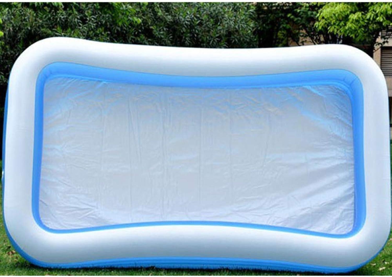 XYFL Three Ring Inflatable Family Paddling Pool,Rectangular Inflatable Paddling Pool, blu