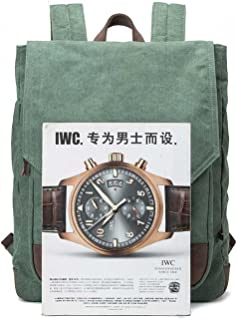Sturdy Fashian Retro Backpack Canvas Men's Shoulder Handbag with Leather Student Handbag Computer Backpack Large Capacity