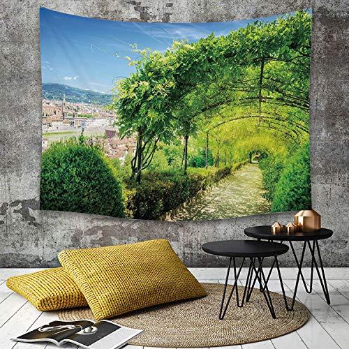 Tapestry,Hippie Tapiz,tapiz de pared con decoración para el hogar,Decoración italiana, Jardines de Boboli en Florencia, Italia Atracción t,para picnic Mantel o Toalla de Playa redonda 180 x 230 cm