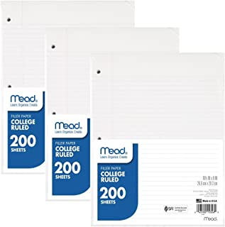 Mead Loose Leaf Paper, Filler Paper, College Ruled, 200 Sheets, 10-1/2 x 8 inches, 3 Hole Punched, 3 Pack (73185)