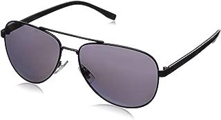 Men's B0761s Polarized Aviator Sunglasses, Matte Black/Smoke Polarized, 60 mm