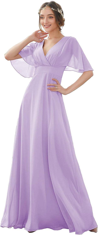ONEDress Women's V Neck Chiffon Bridesmaid Dresses Batwing Sleeve A Line Long Formal Evening Dress OD055
