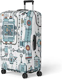 Pinbeam Luggage Cover Fantastic Complex Steampunk Machine Made of Interlocking Pipes Travel Suitcase Cover Protector Baggage Case Fits 22-24 inches