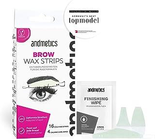 andmetics BROW wax strips: patentierte Augenbrauen Kaltwachs Enthaarung Streifen,..