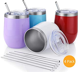 Stainless Steel Wine Glass with Straws Set,Insulated Wine Tumbler 12 oz Stemless Wine Glasses with Spill Proof Lid,Lightweight,Travel Friendly (Multi-color B)