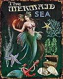 "25 Home Decor Vintage Mermaid Metal Sign | Retro Coastal Style | 10"" High"