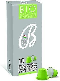 B1870 Cafe Barbera Premium Italian Ground Coffee Capsules Nespresso Compatible – Bio Organic – Arabica and Robusta – Intese Aroma and Abundant Crema