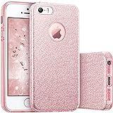 Coovertify Funda Purpurina Brillante Rosa iPhone 5/5S/SE, Carcasa Resistente de Gel Silicona con Brillo para Apple iPhone 5 5S SE
