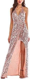 ZYDP Women's V-Neck Sequin Irregular Long Maxi Prom Dress (Color : Gold, Size : L)