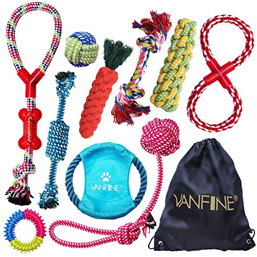 VANFINE Dog Toys Aggressive Chewers - Puppy Toys - Puppy chew Toys - Dog Toys for Small Dogs - Rope Dog Toy - Set of 10 Rope Dog Toy for Medium to Large Dogs