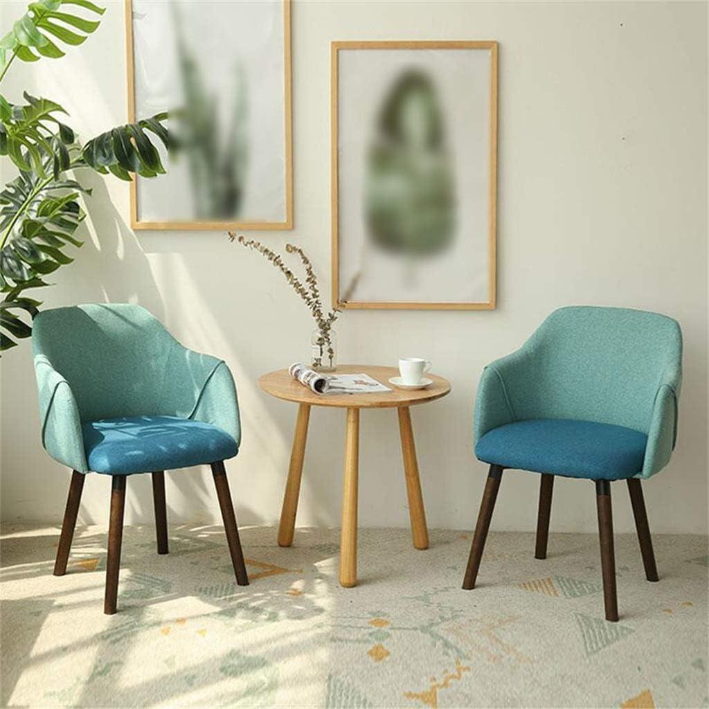 YJT.cy Chaise de Salle à Manger Chaises de Loisirs en Bois Design élégant Linge Textile Chaises de Maison Café Bistro avec accoudoirs (50 × 43 × 81 cm) Blue