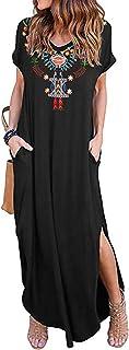 Kidsform Vestito Donna Estivo Donna Scollo a V Manica Corta Abito Casual Loose Elegante Vestito Lungo Donna con Tasca