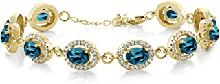 Gem Stone King 11.88 Ct Oval London Blue Topaz 18K Yellow Gold Plated Silver Bracelet