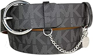 Michael Kors Black Belt with Round Silver Buckle MK Logo Chain MK Tag Size X-Large