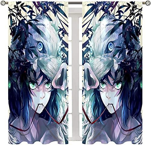 Cortinas de dibujos animados para niñas con bolsillo para varilla, anime demonio asesino temporada 2 Hashibira Inosuke, decoración para dormitorio, cortina de bolsillo para barra de 55 x 63 pulgadas