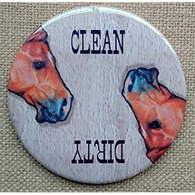 Dishwasher Magnet, 3.5 , Clean/Dirty, Horse Heads, Original Artwork, Western Theme, Dishes Reminder
