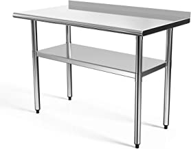 SUNCOO Commercial NSF Stainless Steel Work Table Food Grade Kitchen Prep Workbench Metal..