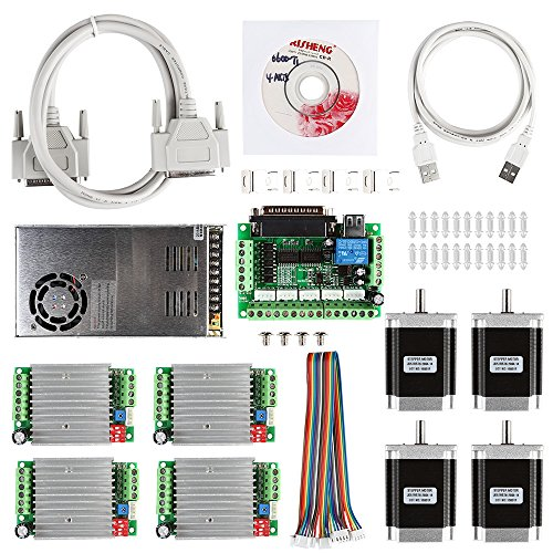 SainSmart Kit CNC de 4 ejes con controlador de motor TB6600, interfaz paralela, motor de paso a paso Nema23 270 Oz-in y fuente de alimentación de 24 V (Kit CNC 3).