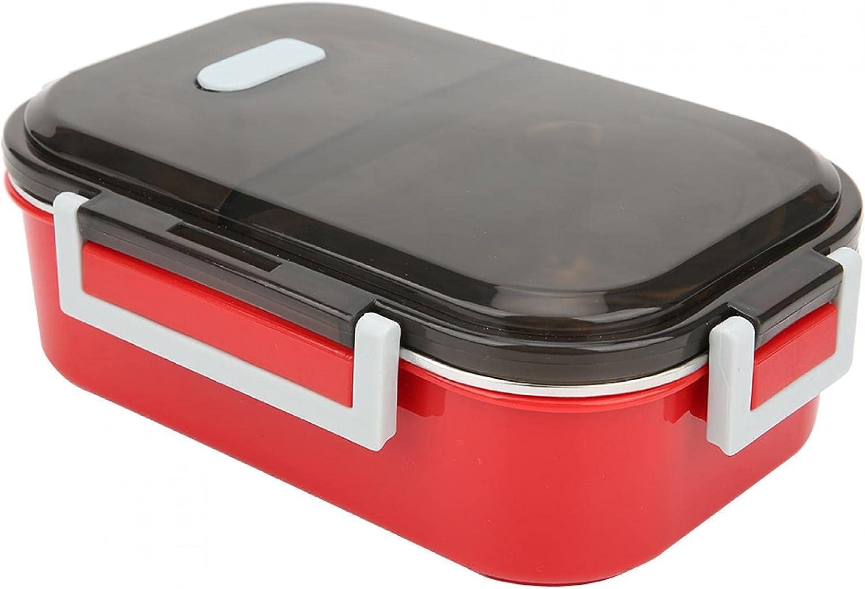 Recipiente para almuerzo, a prueba de fugas, portátil, 700 ml, acero inoxidable 304, lonchera, recipiente para almacenamiento de alimentos con buen sellado, con anillo de sellado de(rojo)