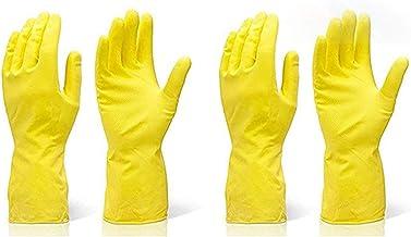 TWENOZ Cleaning Gloves Reusable Rubber Hand Gloves, Stretchable Gloves for Washing Cleaning Kitchen Garden (Yellow, 2 Pair Medium)
