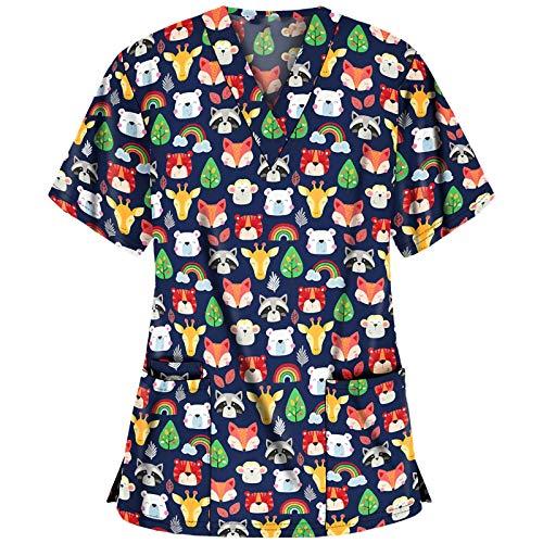 DAY8 Damen Kurzarm V-Ausschnitt Tops Cartoon Print Arbeitskleidung Weihnachten Thanksgiving Bluse