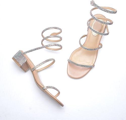 Shi xiang shop sandals Strass Sandalen Frühling und Sommer raue Fersen koreanische Casual Winding Open-Toe Schuhe (Farbe   Beige, Größe   EU36 UK4 CN36)