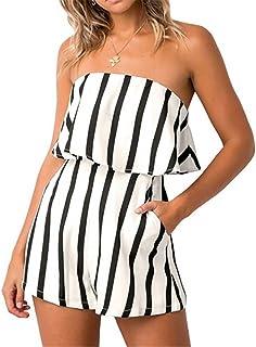 03ac7b507ee MAXIMGR Women Summer Sleeveless Off Shoulder Romper Striped Print Beach  Shorts Jumpsuit