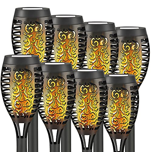 Liveasily Outdoor Solar Torch Light with Dancing Flickering Flame, Solar Tiki Torches, Dusk to Dawn Auto On/Off Pathway Lights for Garden Courtyard Lane, 8 Count (Pack of 1)